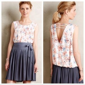 Anthropologie Top Shirt Blouse Pleated Petals NWT